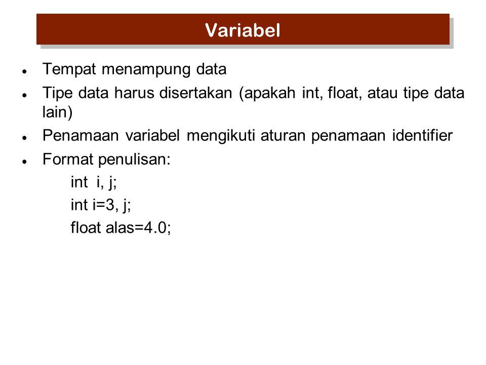 Variabel Tempat menampung data