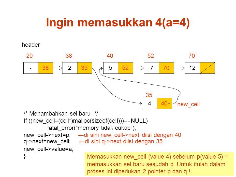 Ingin memasukkan 4(a=4) header 20 38 40 52 70 - 38 2 35 5 52 7 70 12