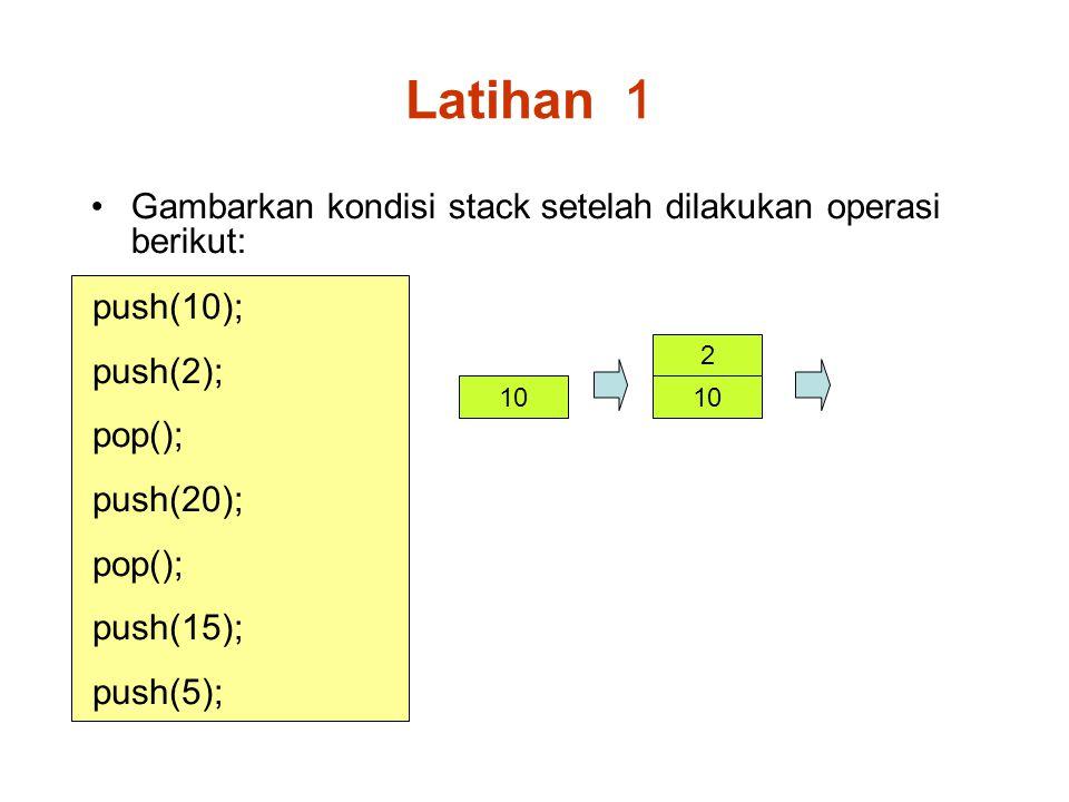 Latihan 1 Gambarkan kondisi stack setelah dilakukan operasi berikut: