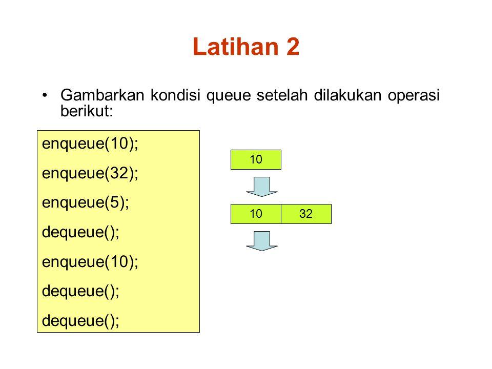 Latihan 2 Gambarkan kondisi queue setelah dilakukan operasi berikut: