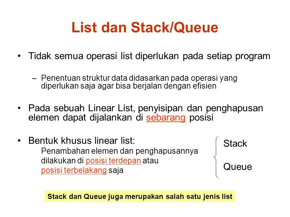 List dan Stack/Queue Tidak semua operasi list diperlukan pada setiap program.