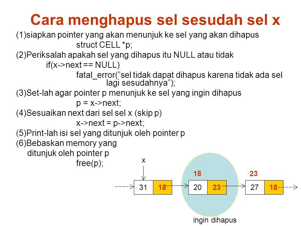 指定セル直後のセルを削除 Cara menghapus sel sesudah sel x