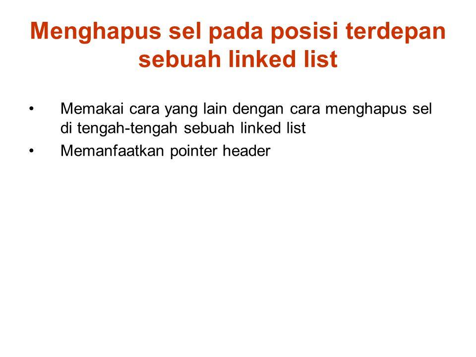 Menghapus sel pada posisi terdepan sebuah linked list