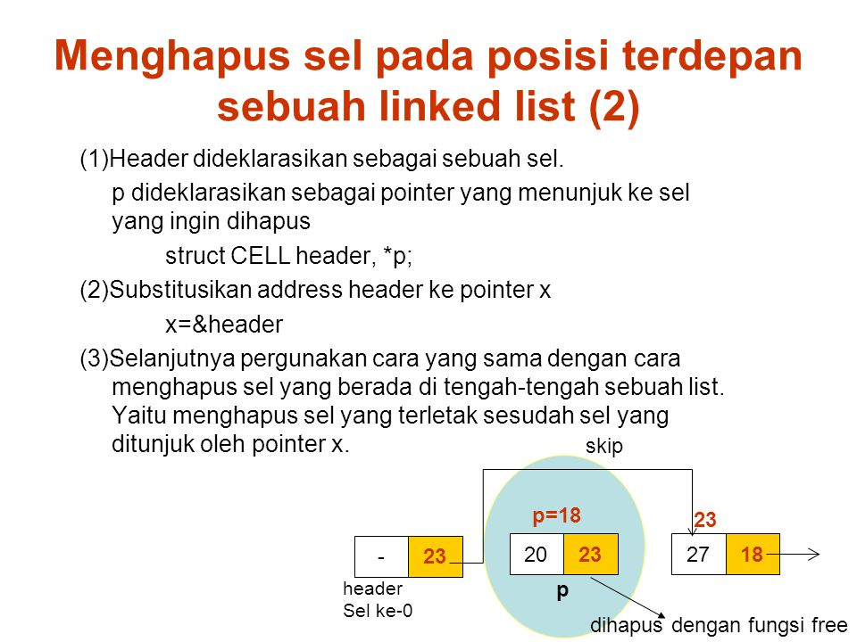 Menghapus sel pada posisi terdepan sebuah linked list (2)