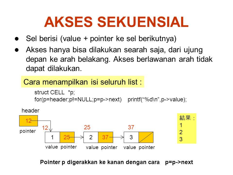 AKSES SEKUENSIAL Sel berisi (value + pointer ke sel berikutnya)