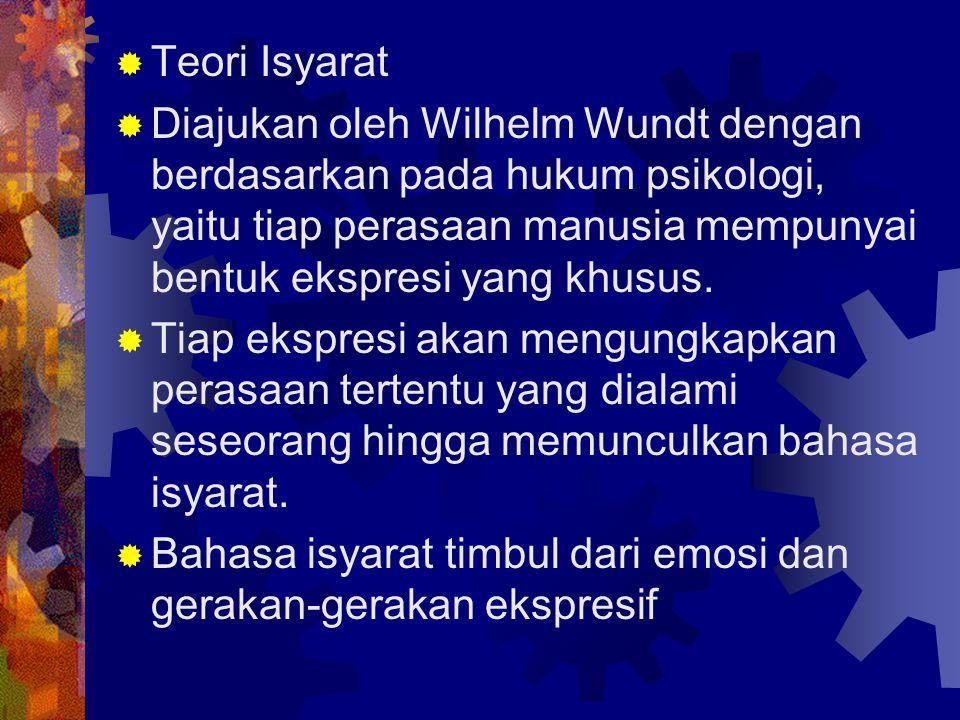 Teori Isyarat Diajukan oleh Wilhelm Wundt dengan berdasarkan pada hukum psikologi, yaitu tiap perasaan manusia mempunyai bentuk ekspresi yang khusus.