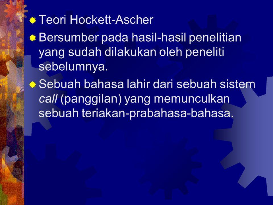 Teori Hockett-Ascher Bersumber pada hasil-hasil penelitian yang sudah dilakukan oleh peneliti sebelumnya.