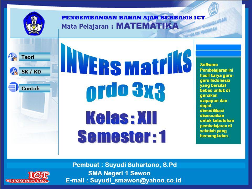 INVERS Matriks ordo 3x3 Kelas : XII Semester : 1