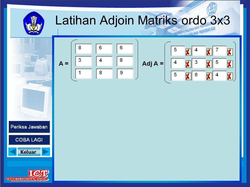 Latihan Adjoin Matriks ordo 3x3