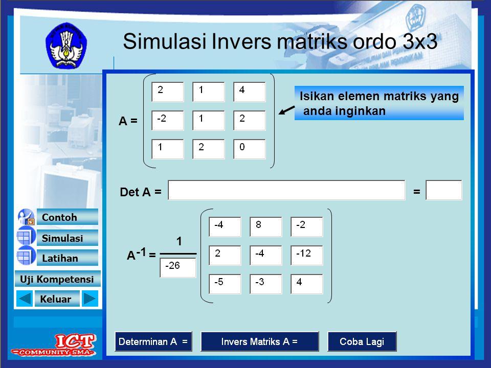 Simulasi Invers matriks ordo 3x3