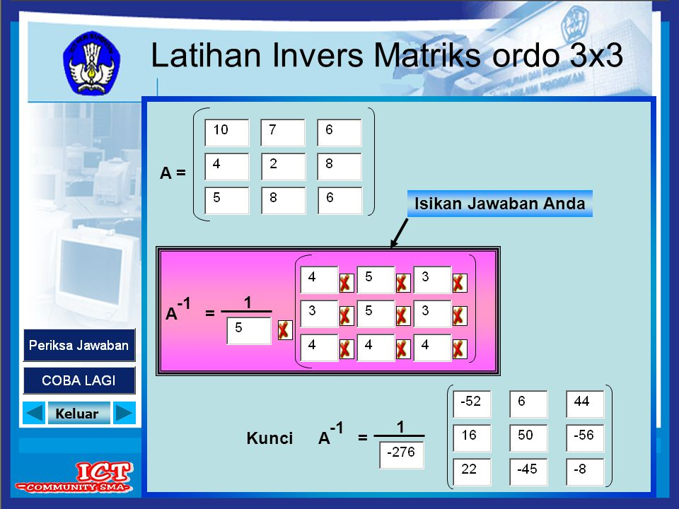Latihan Invers Matriks ordo 3x3