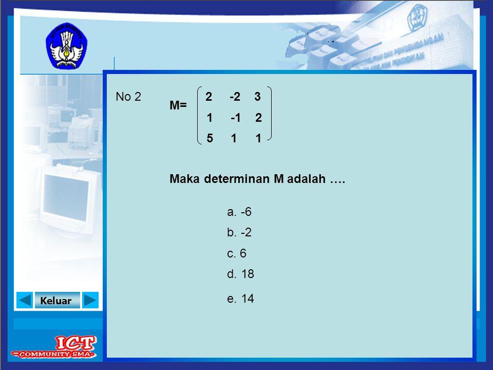 No 2 2 -2 3 M= 1 -1 2 5 1 1 Maka determinan M adalah …. a. -6 b. -2 c. 6 d. 18 e. 14