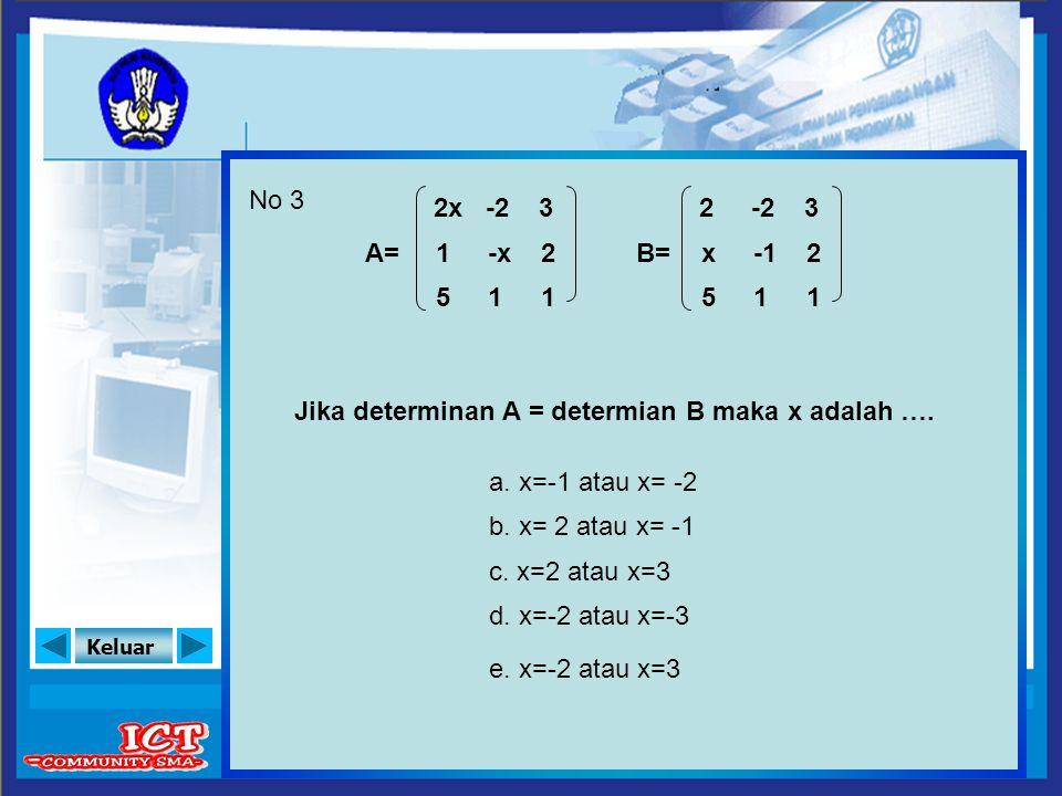 No 3 2x. -2. 3. 2. -2. 3. A= 1. -x. 2. B= x. -1. 2. 5. 1. 1. 5. 1. 1. Jika determinan A = determian B maka x adalah ….