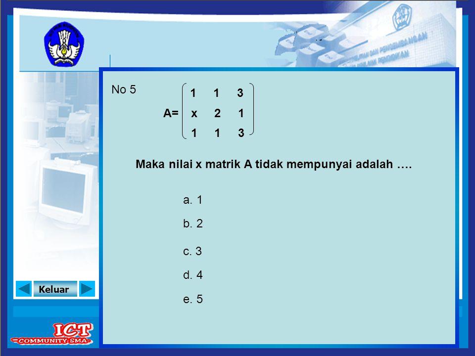 No 5 1 1 3 A= x 2 1 1 1 3 Maka nilai x matrik A tidak mempunyai adalah …. a. 1 b. 2 c. 3 d. 4 e. 5