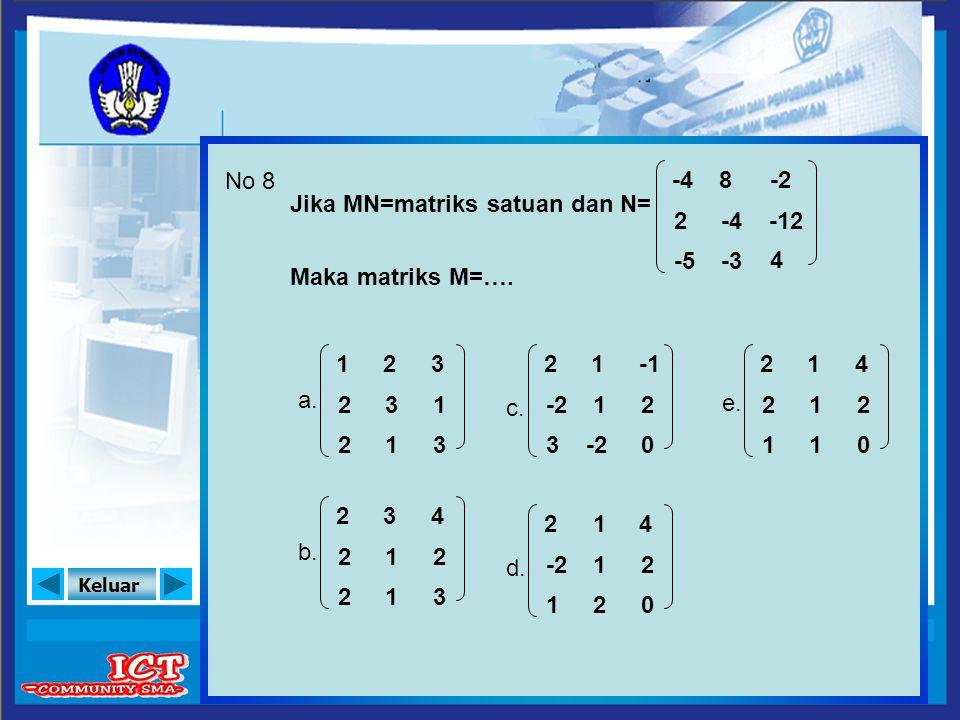 No 8 -4. 8. -2. Jika MN=matriks satuan dan N= 2. -4. -12. -5. -3. 4. Maka matriks M=…. a.