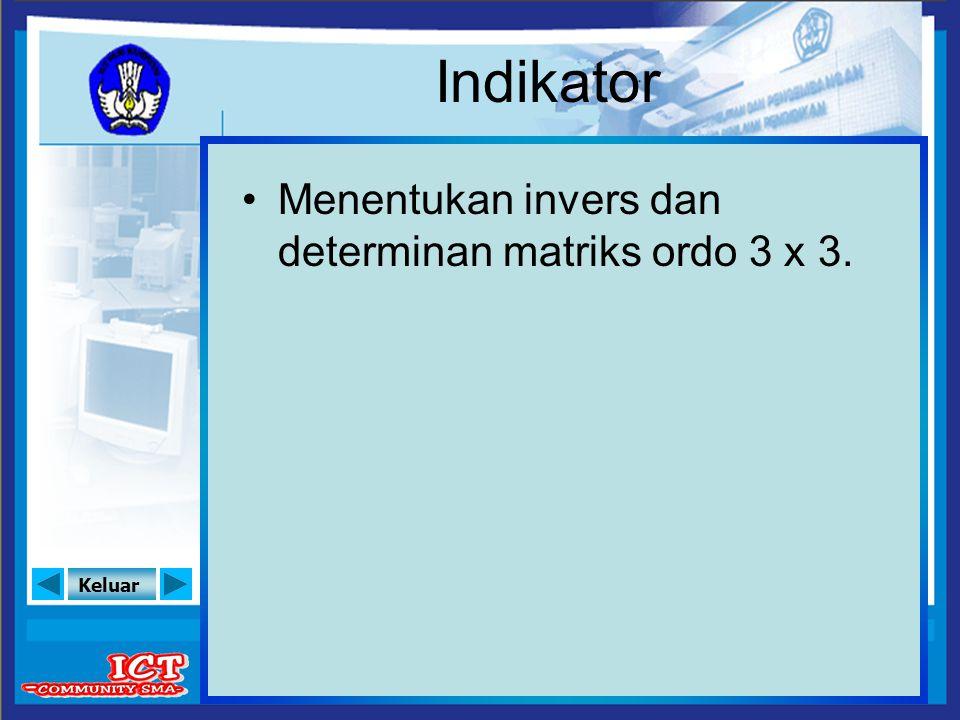 Indikator Menentukan invers dan determinan matriks ordo 3 x 3.