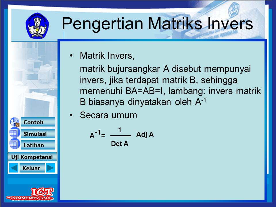 Pengertian Matriks Invers