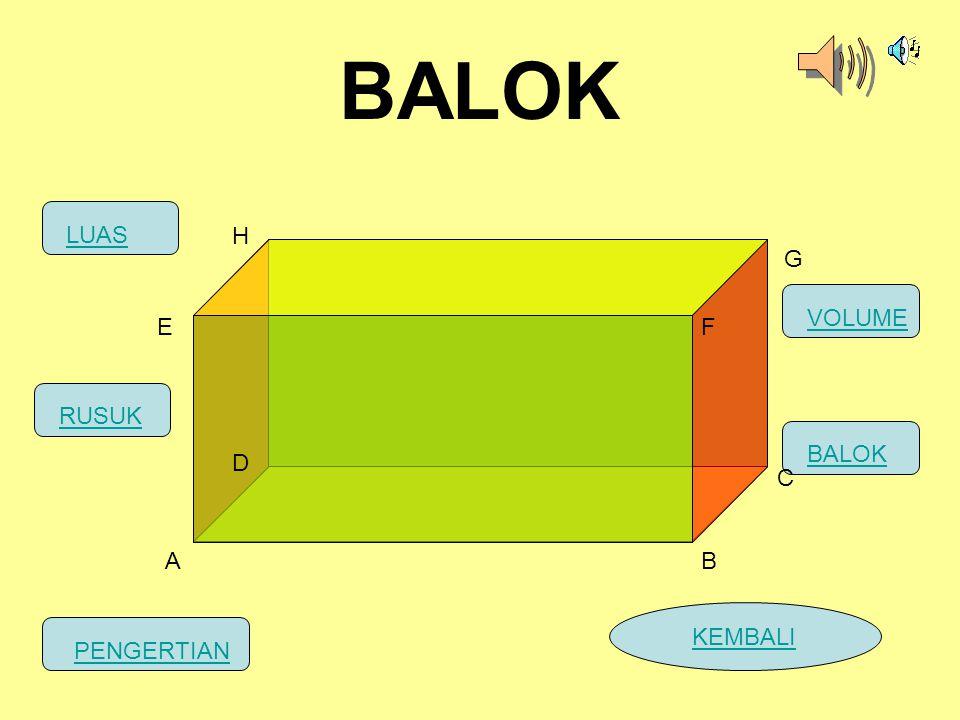 BALOK MASUK MASUK MASUK LUAS H G VOLUME E F RUSUK BALOK D C A B