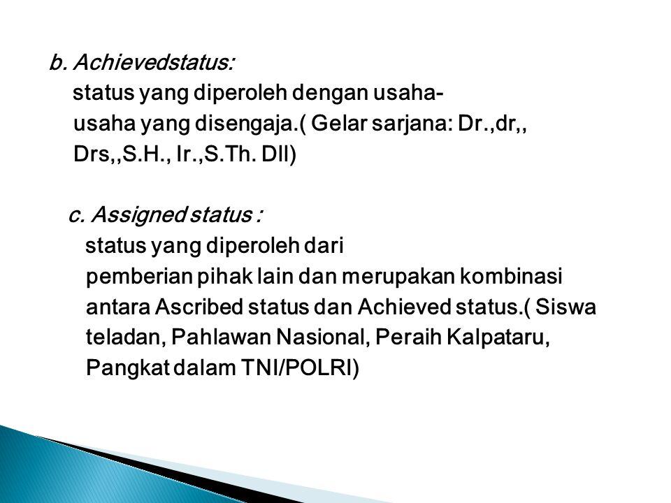 b. Achievedstatus: status yang diperoleh dengan usaha- usaha yang disengaja.( Gelar sarjana: Dr.,dr,,