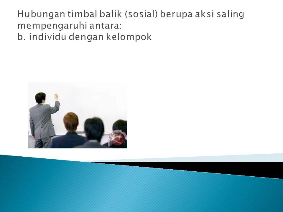 Hubungan timbal balik (sosial) berupa aksi saling mempengaruhi antara: b. individu dengan kelompok