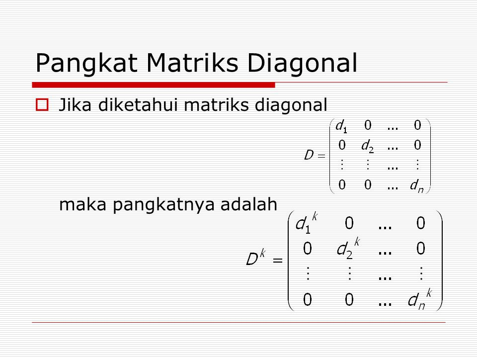 Pangkat Matriks Diagonal