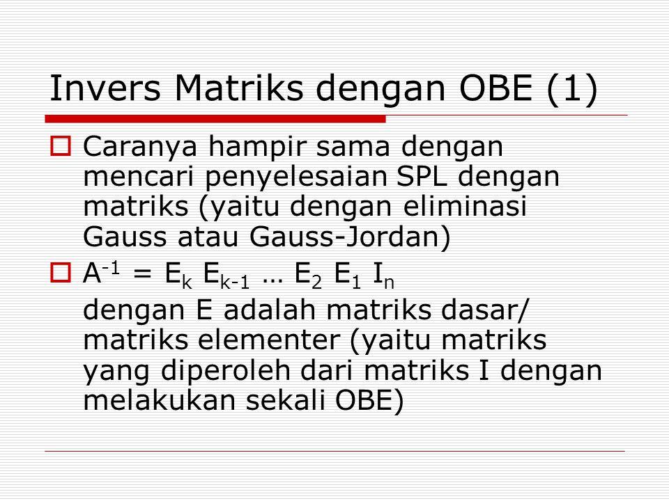 Invers Matriks dengan OBE (1)