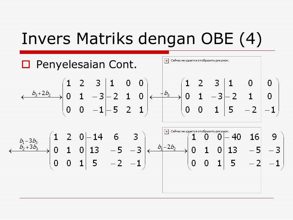 Invers Matriks dengan OBE (4)