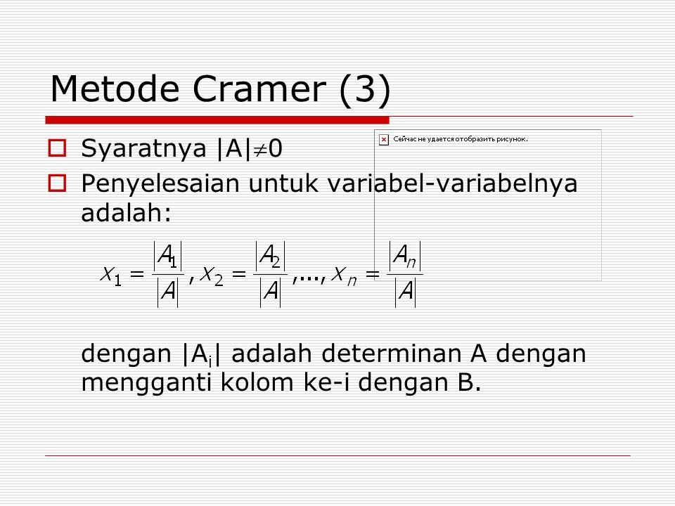 Metode Cramer (3) Syaratnya |A|0