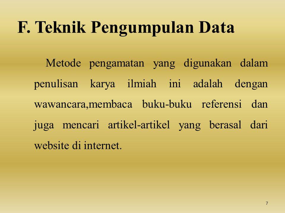 F. Teknik Pengumpulan Data