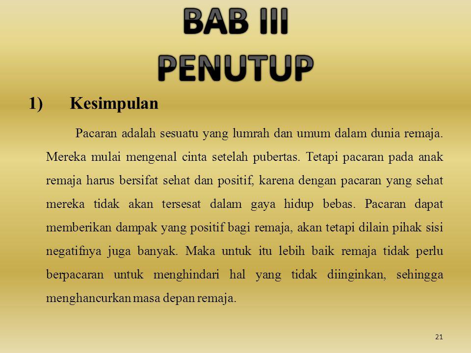 BAB III PENUTUP 1) Kesimpulan