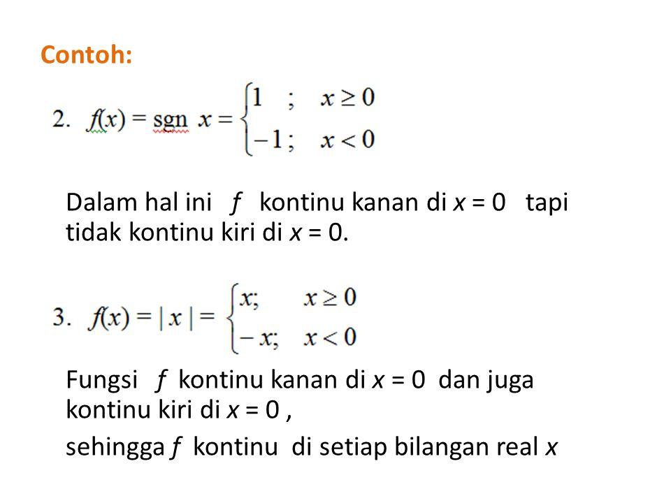 Contoh: Dalam hal ini f kontinu kanan di x = 0 tapi tidak kontinu kiri di x = 0.