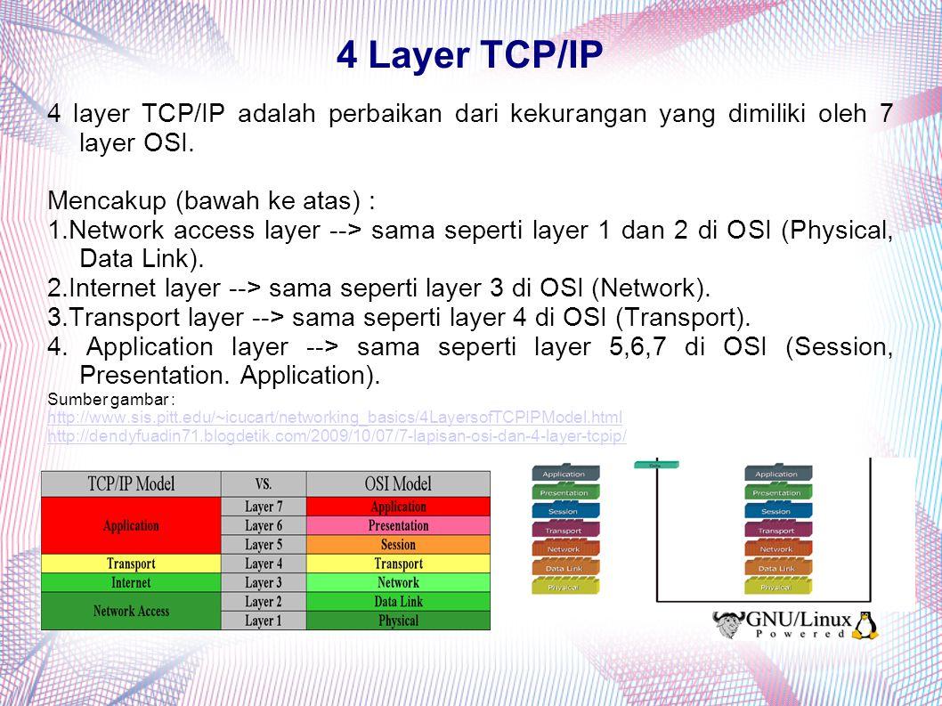 4 Layer TCP/IP 4 layer TCP/IP adalah perbaikan dari kekurangan yang dimiliki oleh 7 layer OSI. Mencakup (bawah ke atas) :