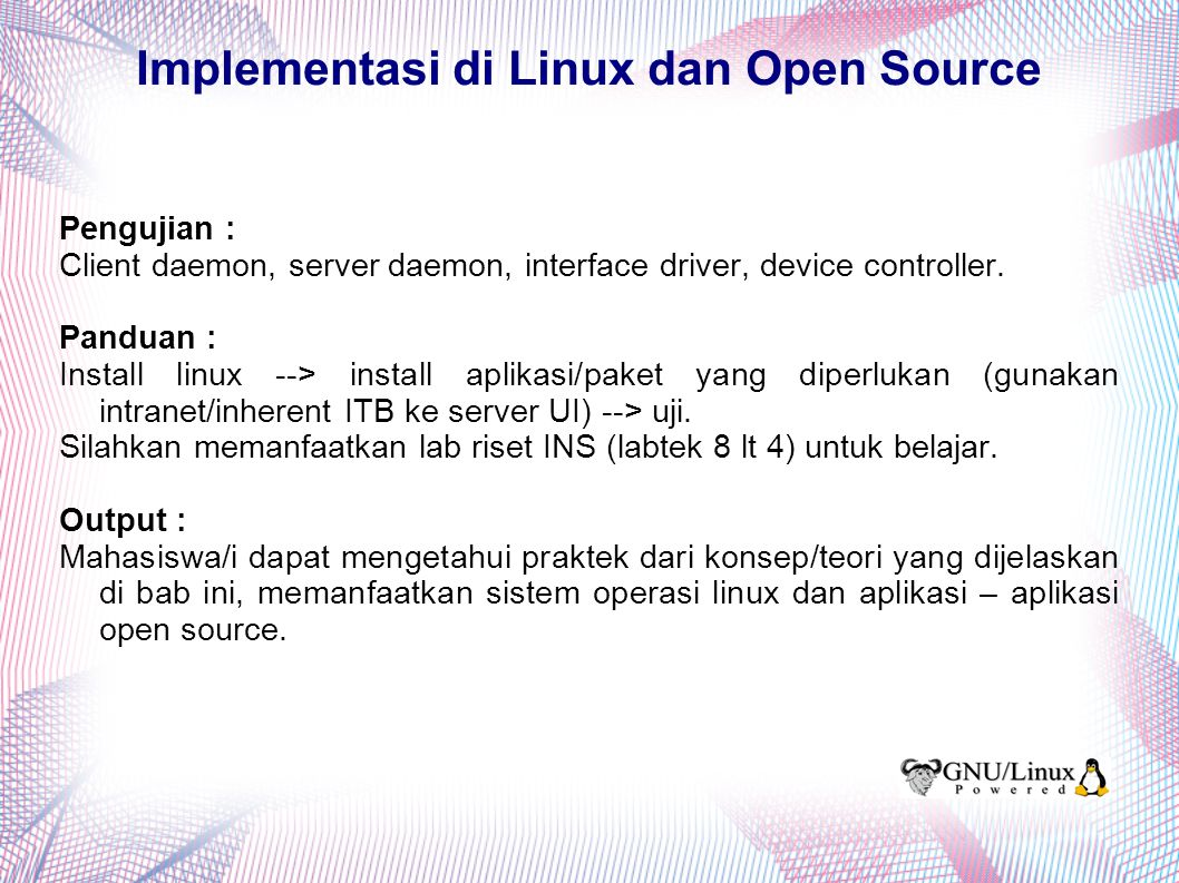 Implementasi di Linux dan Open Source