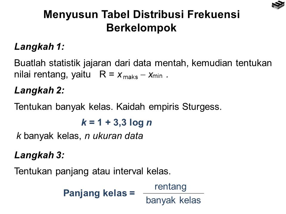 Menyusun Tabel Distribusi Frekuensi Berkelompok