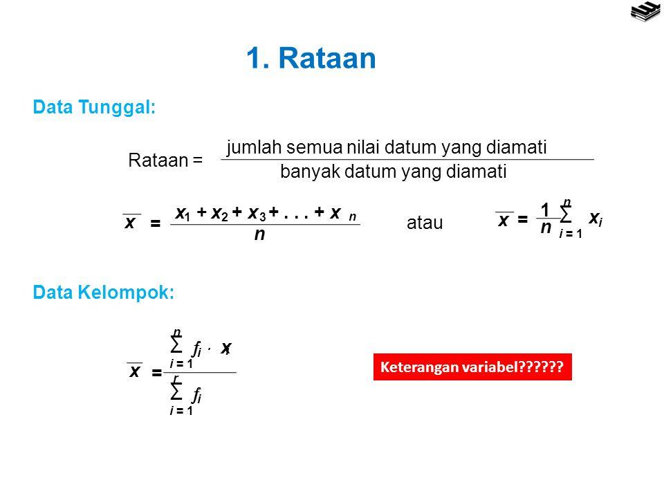 1. Rataan Data Tunggal: Rataan = jumlah semua nilai datum yang diamati