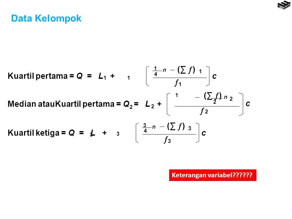 Data Kelompok Kuartil pertama = Q = L + 1 n 4  (∑ )  c