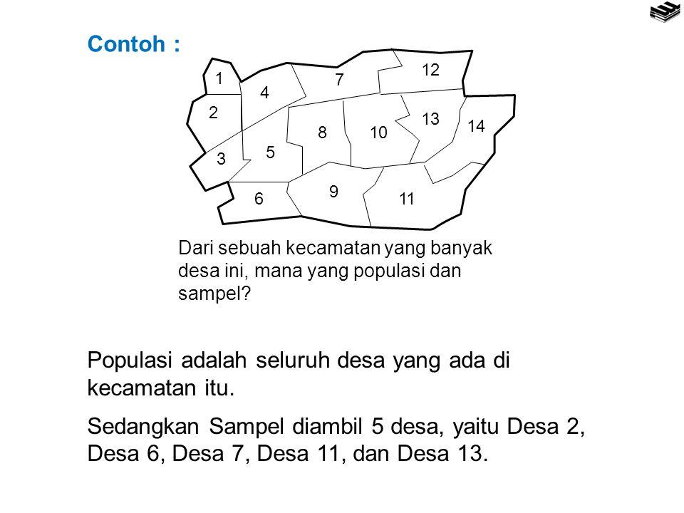 Populasi adalah seluruh desa yang ada di kecamatan itu.