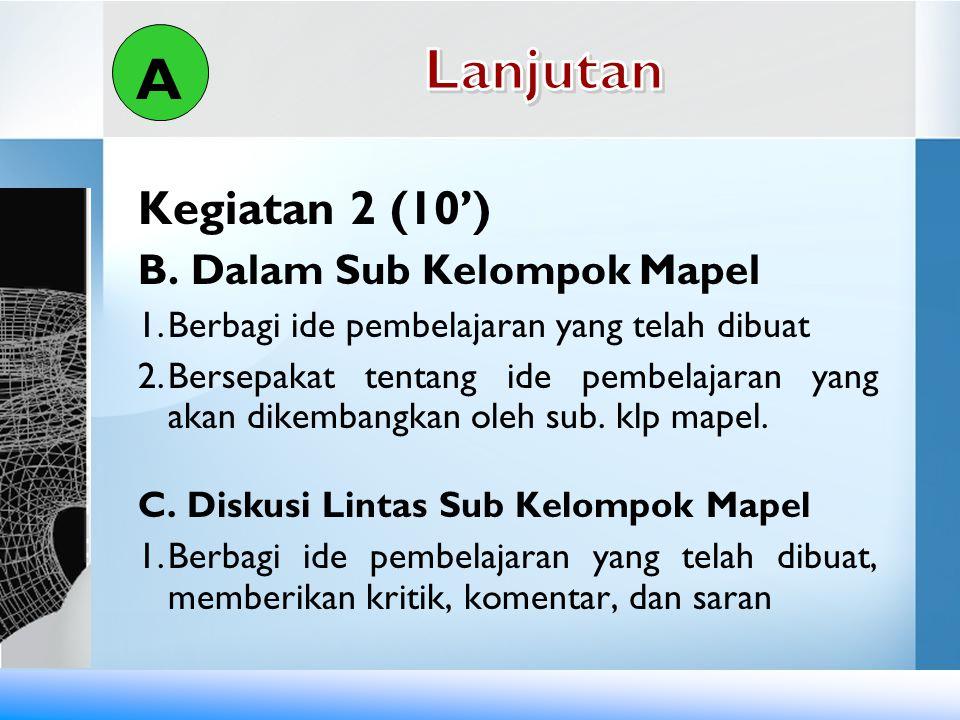 Lanjutan A Kegiatan 2 (10') B. Dalam Sub Kelompok Mapel