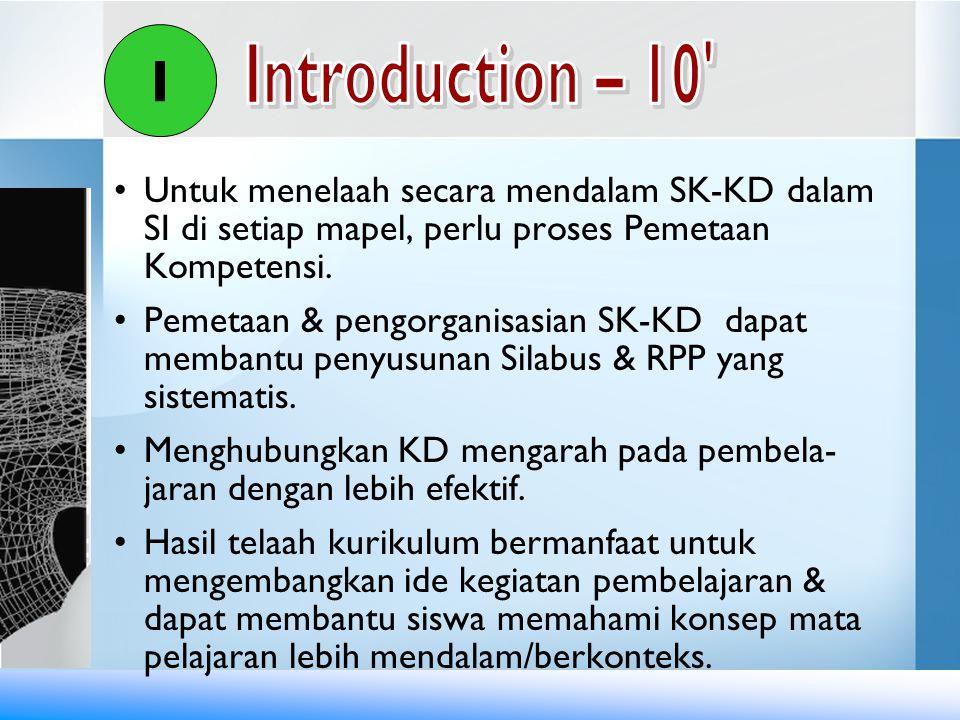 I Introduction – 10 Untuk menelaah secara mendalam SK-KD dalam SI di setiap mapel, perlu proses Pemetaan Kompetensi.