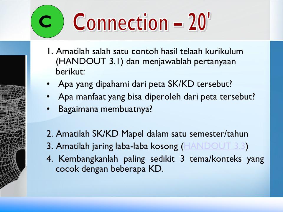 C Connection – 20 1. Amatilah salah satu contoh hasil telaah kurikulum (HANDOUT 3.1) dan menjawablah pertanyaan berikut: