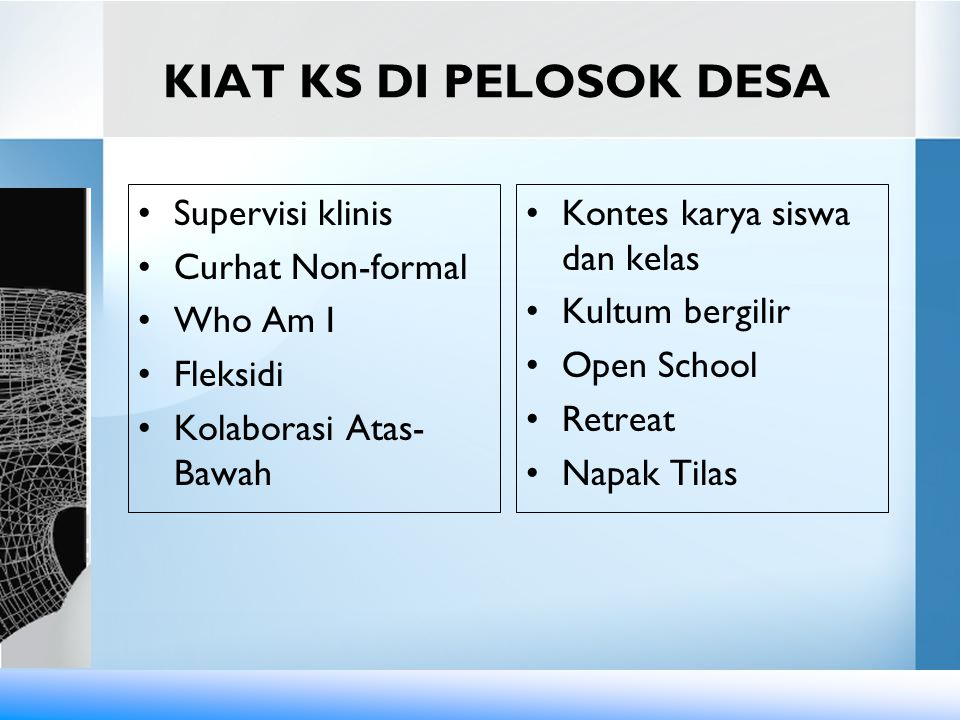 KIAT KS DI PELOSOK DESA Supervisi klinis Curhat Non-formal Who Am I