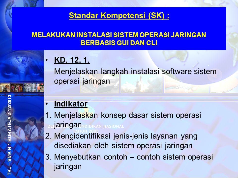 Menjelaskan langkah instalasi software sistem operasi jaringan