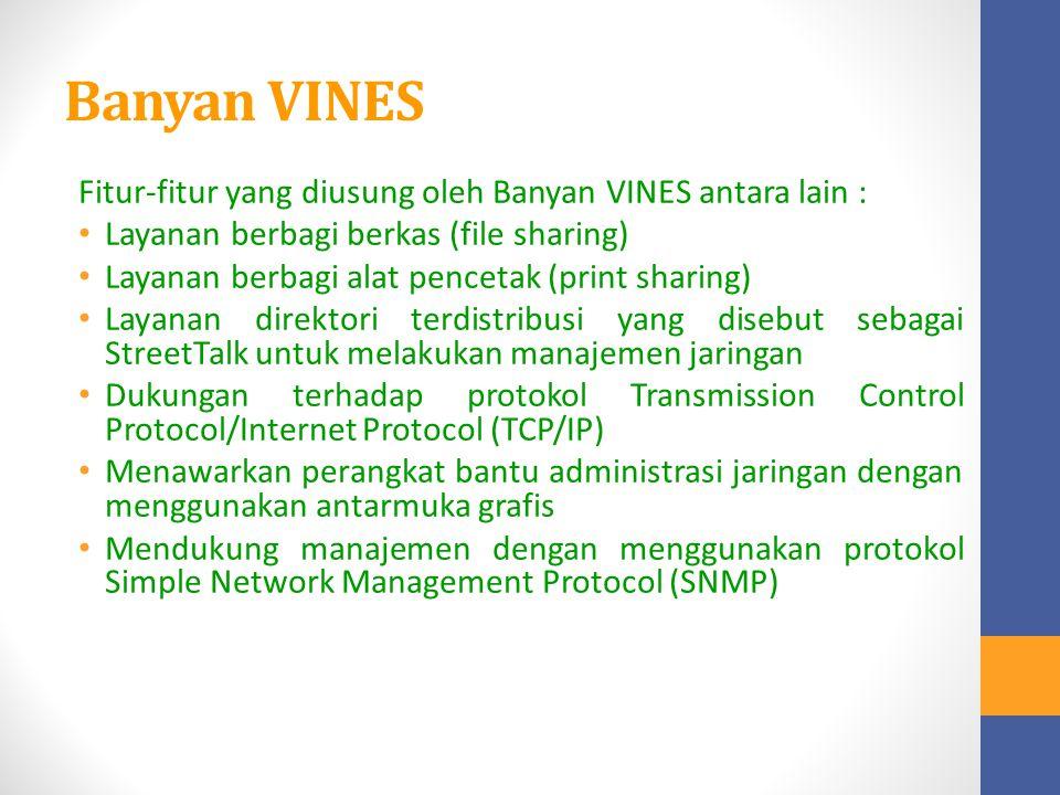 Banyan VINES Fitur-fitur yang diusung oleh Banyan VINES antara lain :