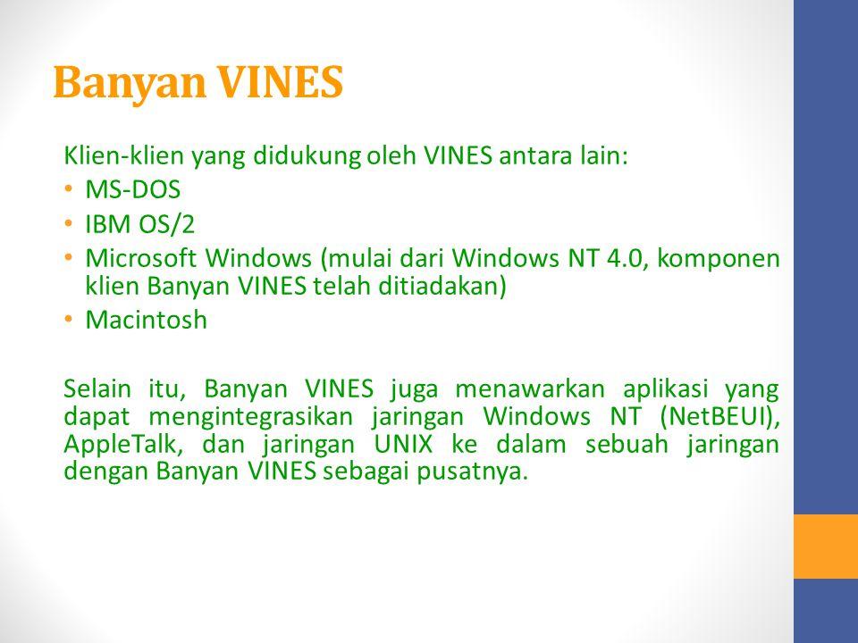 Banyan VINES Klien-klien yang didukung oleh VINES antara lain: MS-DOS