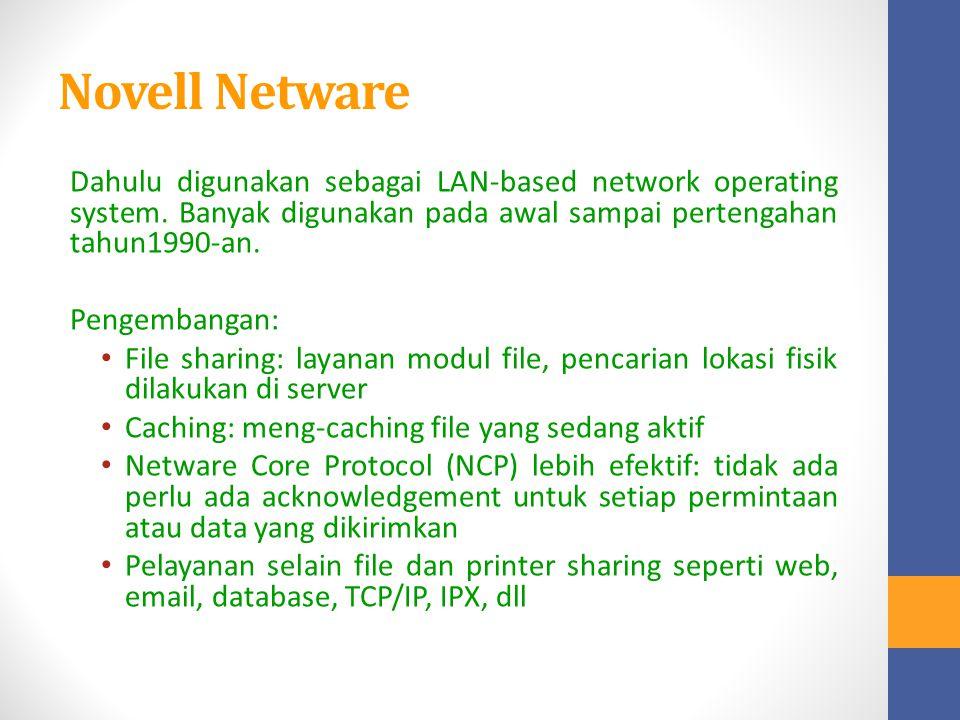 Novell Netware Dahulu digunakan sebagai LAN-based network operating system. Banyak digunakan pada awal sampai pertengahan tahun1990-an.