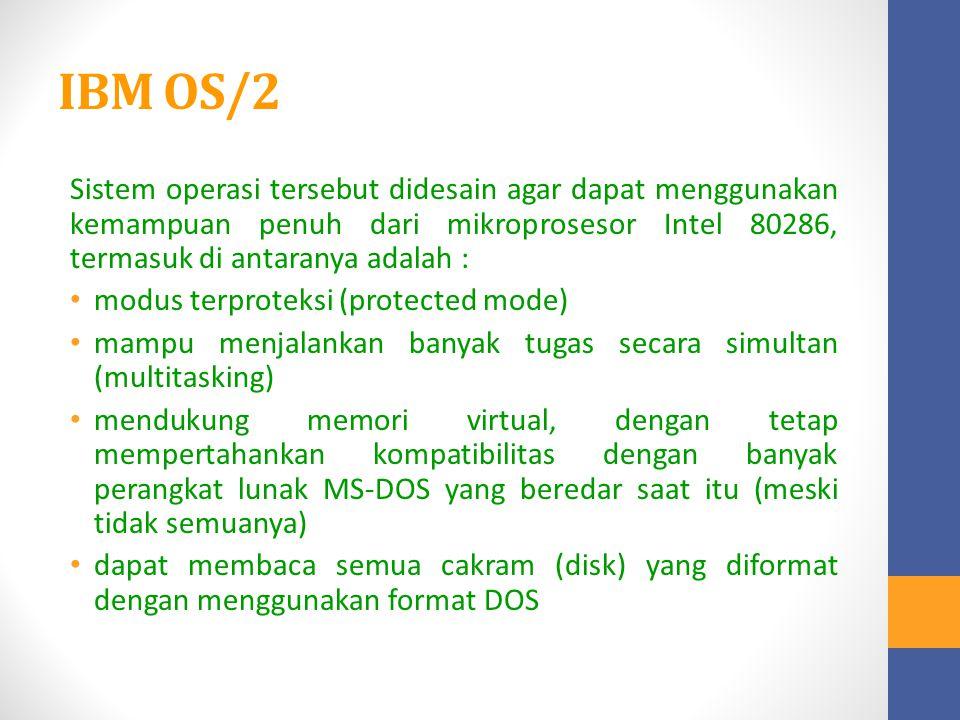 IBM OS/2 Sistem operasi tersebut didesain agar dapat menggunakan kemampuan penuh dari mikroprosesor Intel 80286, termasuk di antaranya adalah :