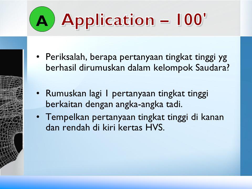 A Application – 100 Periksalah, berapa pertanyaan tingkat tinggi yg berhasil dirumuskan dalam kelompok Saudara