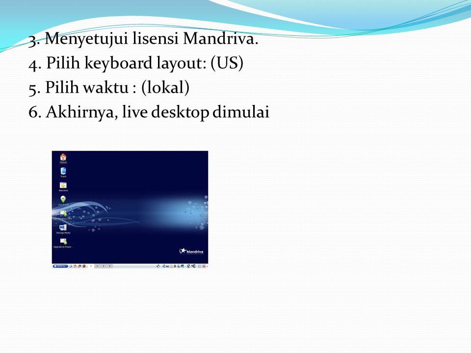 3. Menyetujui lisensi Mandriva. 4. Pilih keyboard layout: (US) 5