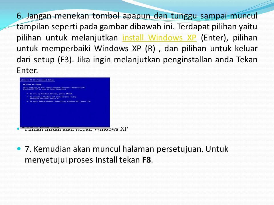 6. Jangan menekan tombol apapun dan tunggu sampai muncul tampilan seperti pada gambar dibawah ini. Terdapat pilihan yaitu pilihan untuk melanjutkan install Windows XP (Enter), pilihan untuk memperbaiki Windows XP (R) , dan pilihan untuk keluar dari setup (F3). Jika ingin melanjutkan penginstallan anda Tekan Enter.