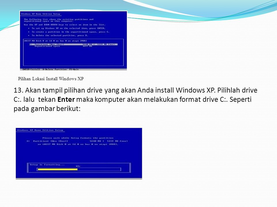 Pilihan Lokasi Install Windows XP